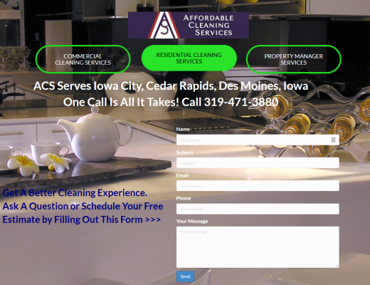 Screenshot of New ACS Website - Stay Clean My Friends - Residential Cleaning